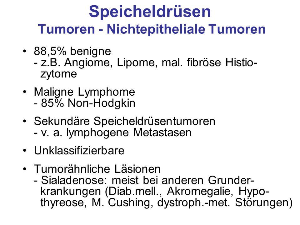 Speicheldrüsen Tumoren - Nichtepitheliale Tumoren 88,5% benigne - z.B. Angiome, Lipome, mal. fibröse Histio- zytome Maligne Lymphome - 85% Non-Hodgkin