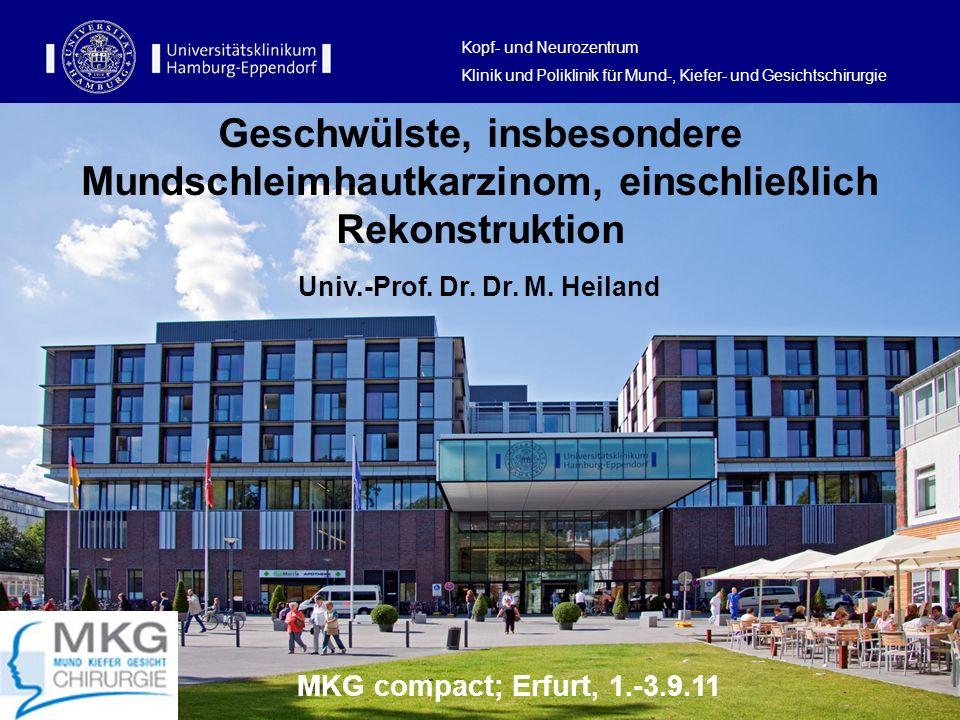 Geschwülste, insbesondere Mundschleimhautkarzinom, einschließlich Rekonstruktion Univ.-Prof. Dr. Dr. M. Heiland Kopf- und Neurozentrum Klinik und Poli