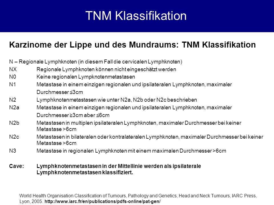 Karzinome der Lippe und des Mundraums: TNM Klassifikation N – Regionale Lymphknoten (in diesem Fall die cervicalen Lymphknoten) NXRegionale Lymphknote
