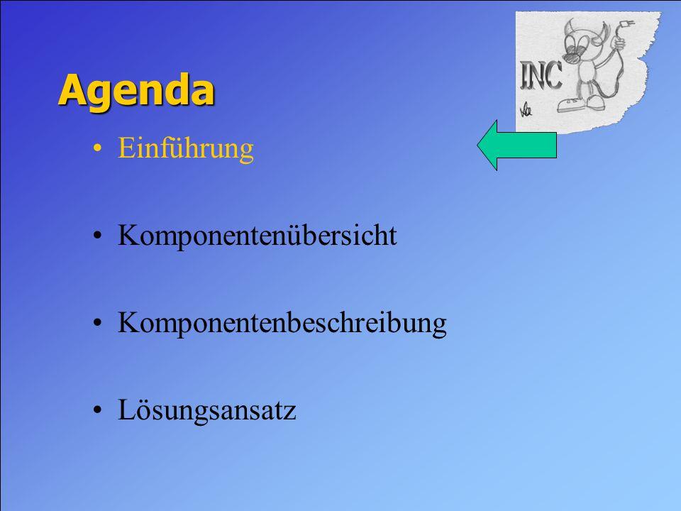 Agenda Einführung Komponentenübersicht Komponentenbeschreibung Lösungsansatz