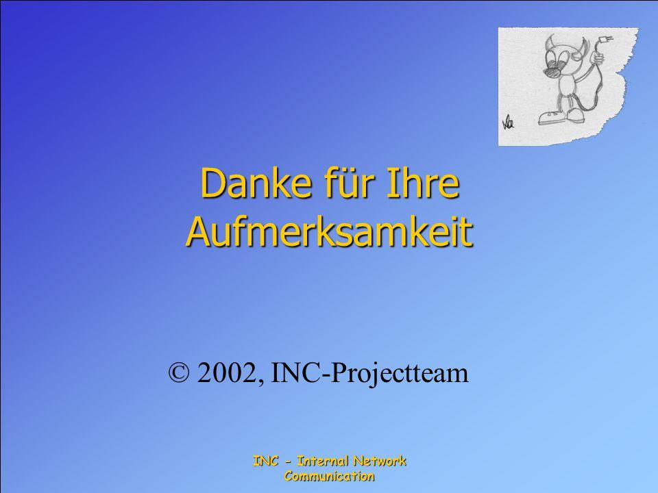 INC - Internal Network Communication Danke für Ihre Aufmerksamkeit © 2002, INC-Projectteam