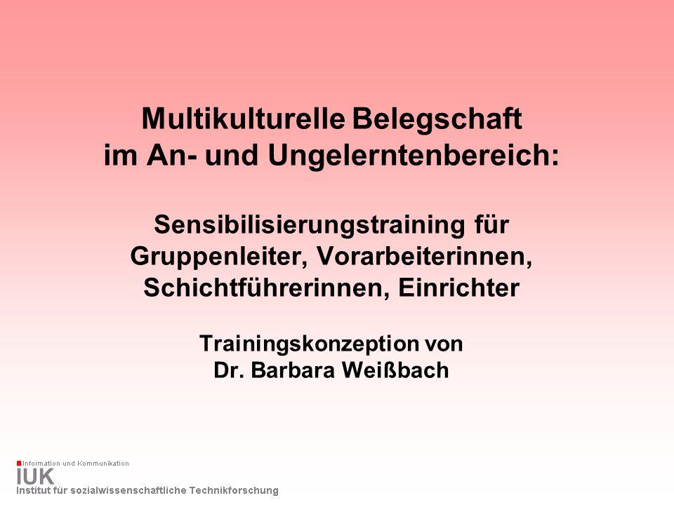 Multikulturelle Belegschaft im An- und Ungelerntenbereich: Sensibilisierungstraining für Gruppenleiter, Vorarbeiterinnen, Schichtführerinnen, Einricht