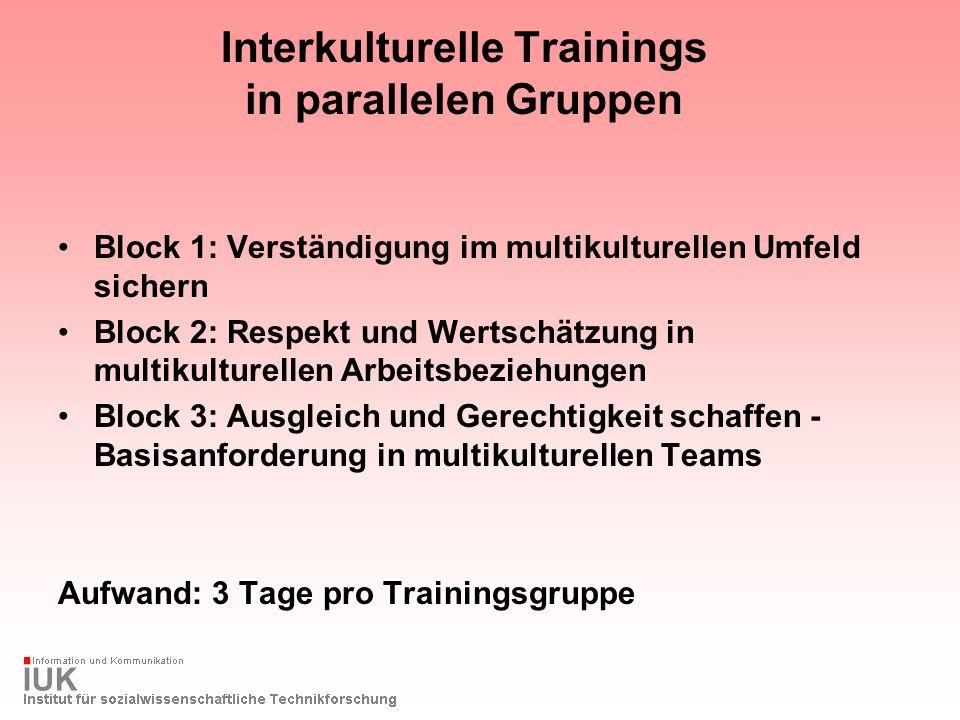 Interkulturelle Trainings in parallelen Gruppen Block 1: Verständigung im multikulturellen Umfeld sichern Block 2: Respekt und Wertschätzung in multik