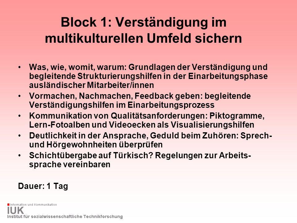 Block 1: Verständigung im multikulturellen Umfeld sichern Was, wie, womit, warum: Grundlagen der Verständigung und begleitende Strukturierungshilfen i