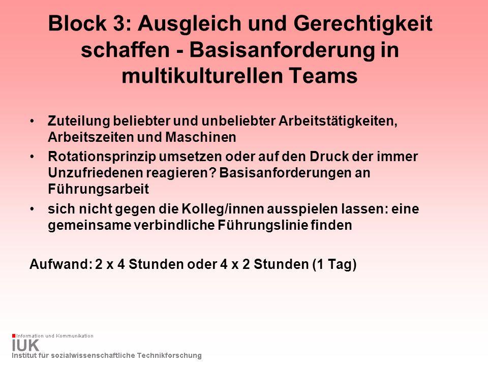 Block 3: Ausgleich und Gerechtigkeit schaffen - Basisanforderung in multikulturellen Teams Zuteilung beliebter und unbeliebter Arbeitstätigkeiten, Arb
