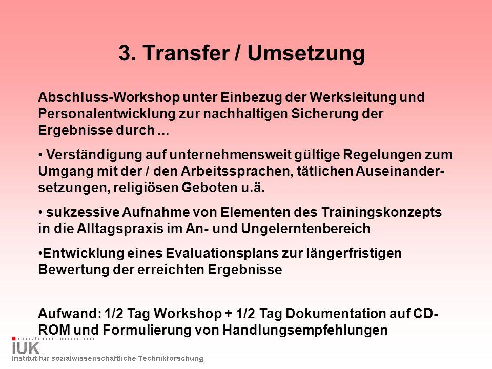 3. Transfer / Umsetzung Abschluss-Workshop unter Einbezug der Werksleitung und Personalentwicklung zur nachhaltigen Sicherung der Ergebnisse durch...