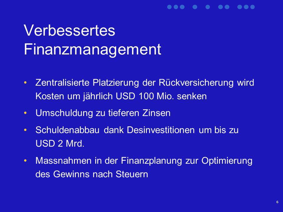 6 Verbessertes Finanzmanagement Zentralisierte Platzierung der Rückversicherung wird Kosten um jährlich USD 100 Mio.