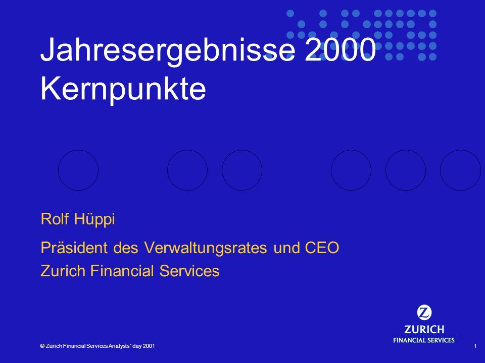 © Zurich Financial Services Analysts´ day 20011 Jahresergebnisse 2000 Kernpunkte Rolf Hüppi Präsident des Verwaltungsrates und CEO Zurich Financial Se