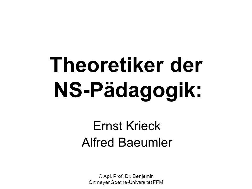 © Apl. Prof. Dr. Benjamin Ortmeyer Goethe-Universität FFM Theoretiker der NS-Pädagogik: Ernst Krieck Alfred Baeumler