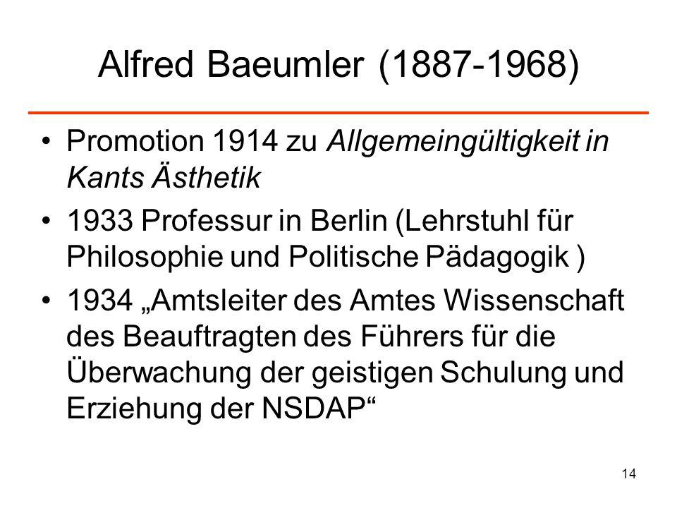 14 Alfred Baeumler (1887-1968) Promotion 1914 zu Allgemeingültigkeit in Kants Ästhetik 1933 Professur in Berlin (Lehrstuhl für Philosophie und Politis
