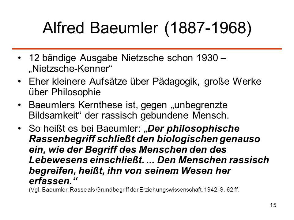 15 Alfred Baeumler (1887-1968) 12 bändige Ausgabe Nietzsche schon 1930 – Nietzsche-Kenner Eher kleinere Aufsätze über Pädagogik, große Werke über Phil