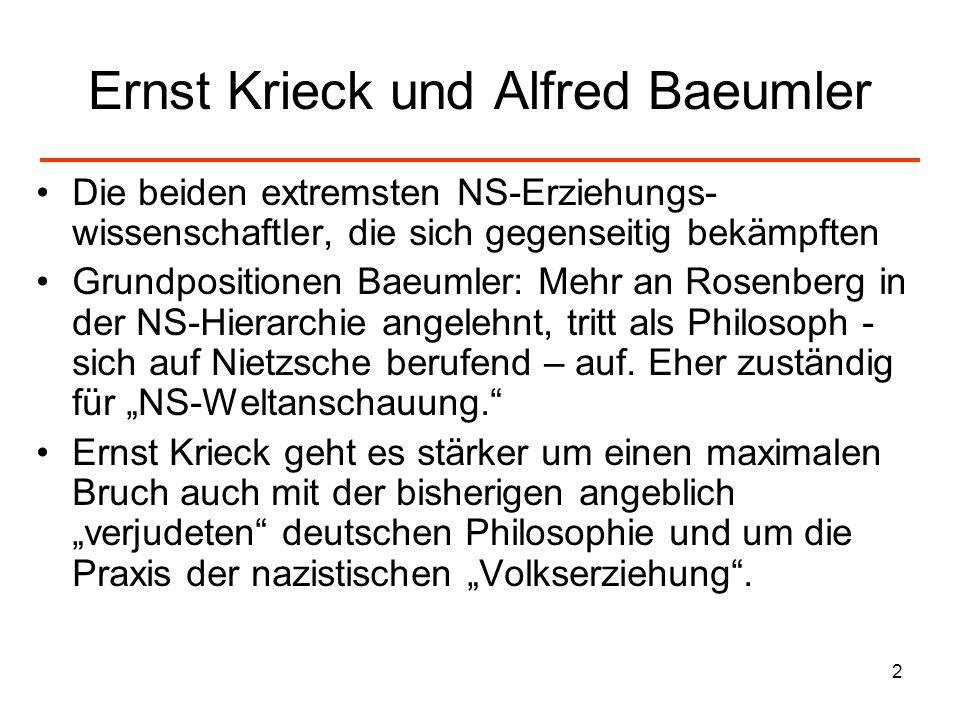 2 Ernst Krieck und Alfred Baeumler Die beiden extremsten NS-Erziehungs- wissenschaftler, die sich gegenseitig bekämpften Grundpositionen Baeumler: Meh