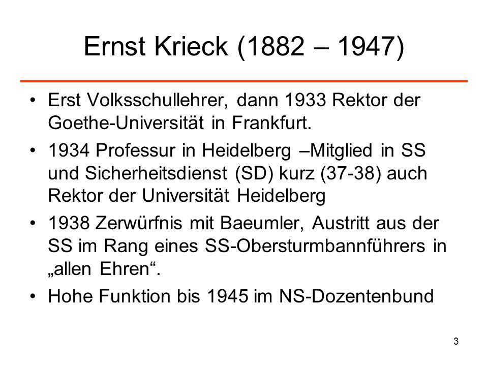 3 Ernst Krieck (1882 – 1947) Erst Volksschullehrer, dann 1933 Rektor der Goethe-Universität in Frankfurt. 1934 Professur in Heidelberg –Mitglied in SS