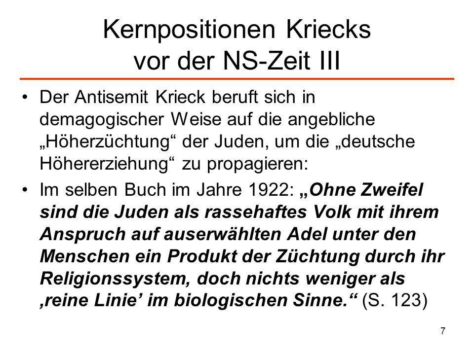 7 Kernpositionen Kriecks vor der NS-Zeit III Der Antisemit Krieck beruft sich in demagogischer Weise auf die angebliche Höherzüchtung der Juden, um di