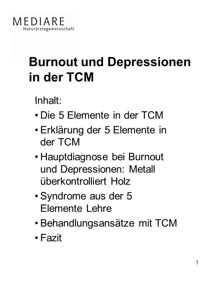 1 Burnout und Depressionen in der TCM Inhalt: Die 5 Elemente in der TCM Erklärung der 5 Elemente in der TCM Hauptdiagnose bei Burnout und Depressionen: Metall überkontrolliert Holz Syndrome aus der 5 Elemente Lehre Behandlungsansätze mit TCM Fazit