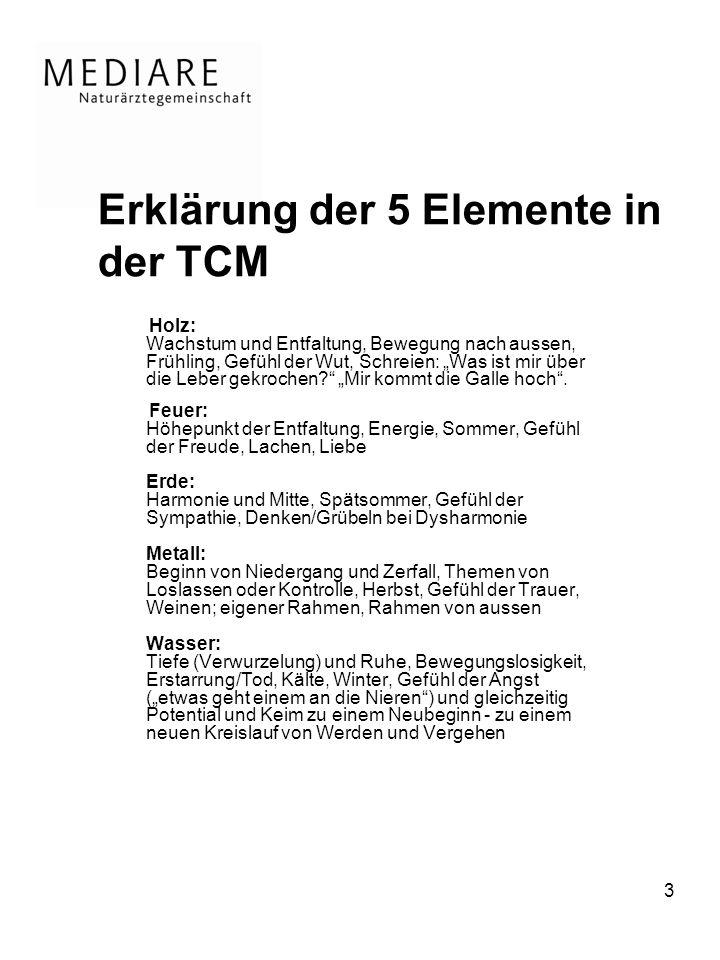 3 Erklärung der 5 Elemente in der TCM Holz: Wachstum und Entfaltung, Bewegung nach aussen, Frühling, Gefühl der Wut, Schreien: Was ist mir über die Leber gekrochen.