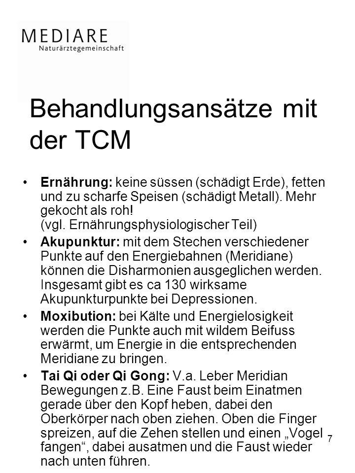 7 Behandlungsansätze mit der TCM Ernährung: keine süssen (schädigt Erde), fetten und zu scharfe Speisen (schädigt Metall).
