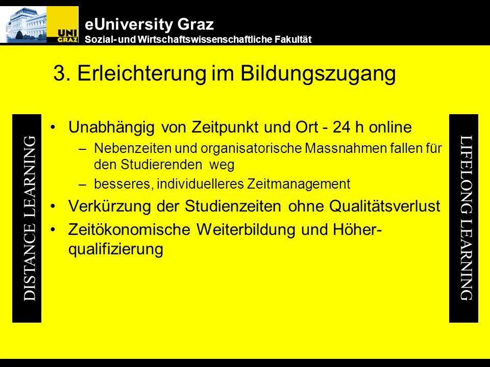 eUniversity Graz Sozial- und Wirtschaftswissenschaftliche Fakultät 2. Wettbewerbsvorteile Für die Studierenden –PRESTIGE der Studierenden steigt Studi