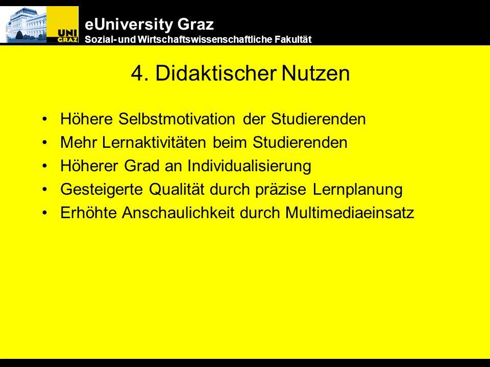 eUniversity Graz Sozial- und Wirtschaftswissenschaftliche Fakultät 3. Erleichterung im Bildungszugang Unabhängig von Zeitpunkt und Ort - 24 h online –