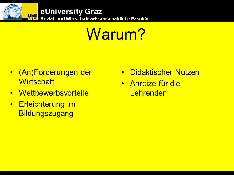 eUniversity Graz Sozial- und Wirtschaftswissenschaftliche Fakultät Nichts geht mehr ohne... eUniversity