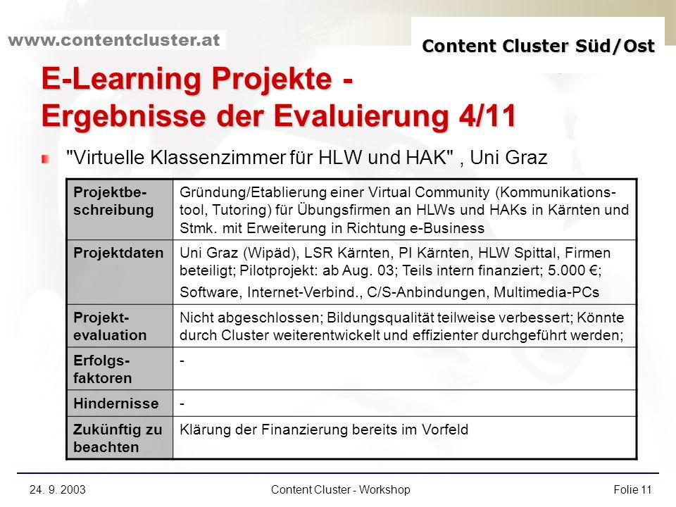 Content Cluster Süd/Ost www.contentcluster.at 24. 9. 2003Content Cluster - WorkshopFolie 11 E-Learning Projekte - Ergebnisse der Evaluierung 4/11