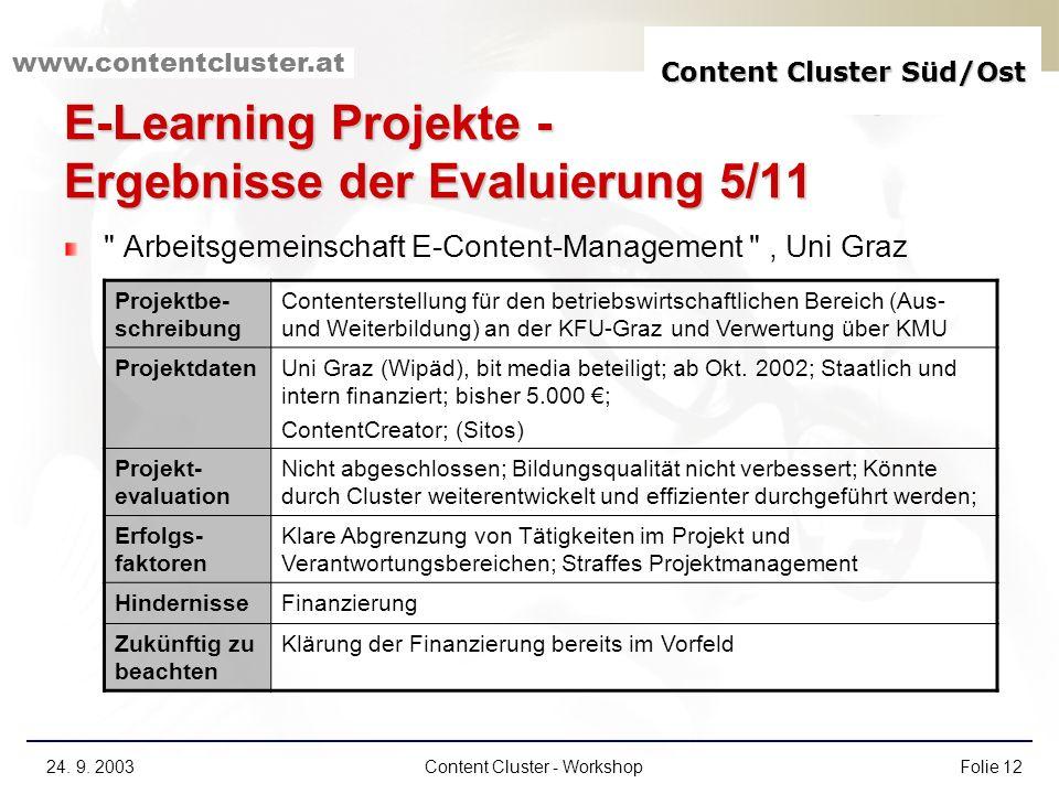 Content Cluster Süd/Ost www.contentcluster.at 24. 9. 2003Content Cluster - WorkshopFolie 12 E-Learning Projekte - Ergebnisse der Evaluierung 5/11
