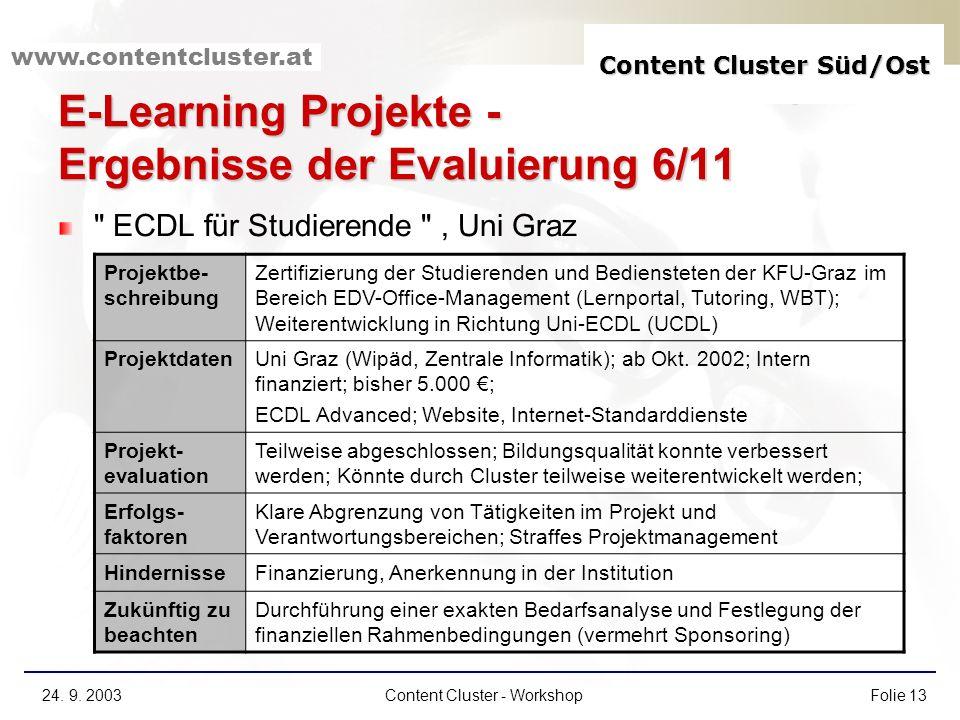 Content Cluster Süd/Ost www.contentcluster.at 24. 9. 2003Content Cluster - WorkshopFolie 13 E-Learning Projekte - Ergebnisse der Evaluierung 6/11