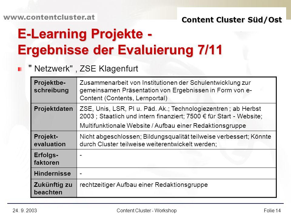 Content Cluster Süd/Ost www.contentcluster.at 24. 9. 2003Content Cluster - WorkshopFolie 14 E-Learning Projekte - Ergebnisse der Evaluierung 7/11