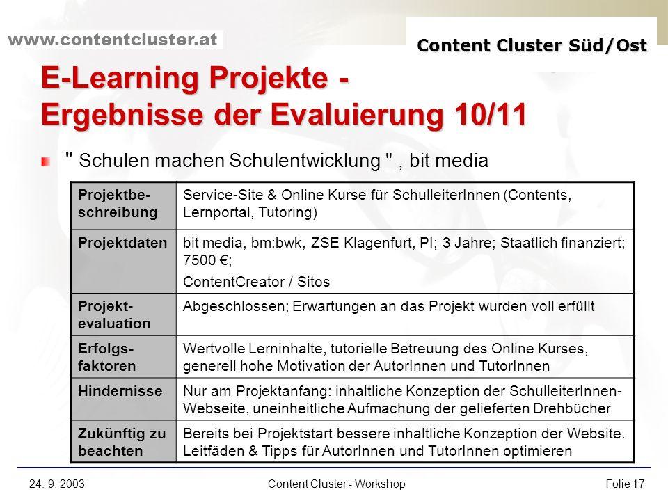 Content Cluster Süd/Ost www.contentcluster.at 24. 9. 2003Content Cluster - WorkshopFolie 17 E-Learning Projekte - Ergebnisse der Evaluierung 10/11
