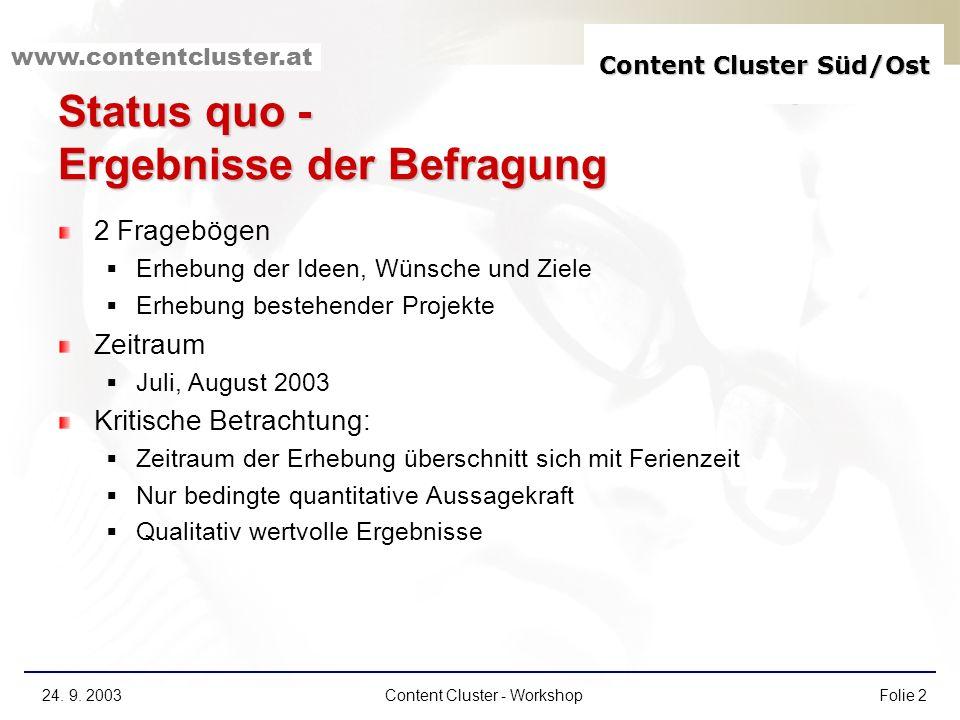 www.contentcluster.at 24. 9. 2003Content Cluster - WorkshopFolie 2 Status quo - Ergebnisse der Befragung 2 Fragebögen Erhebung der Ideen, Wünsche und