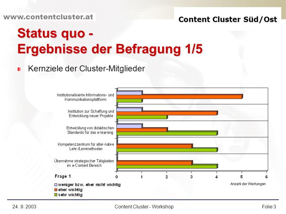 Content Cluster Süd/Ost www.contentcluster.at 24. 9. 2003Content Cluster - WorkshopFolie 3 Status quo - Ergebnisse der Befragung 1/5 Kernziele der Clu