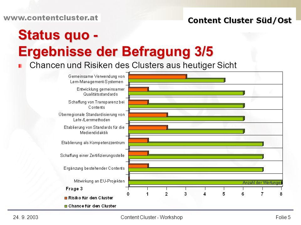 Content Cluster Süd/Ost www.contentcluster.at 24. 9. 2003Content Cluster - WorkshopFolie 5 Status quo - Ergebnisse der Befragung 3/5 Chancen und Risik