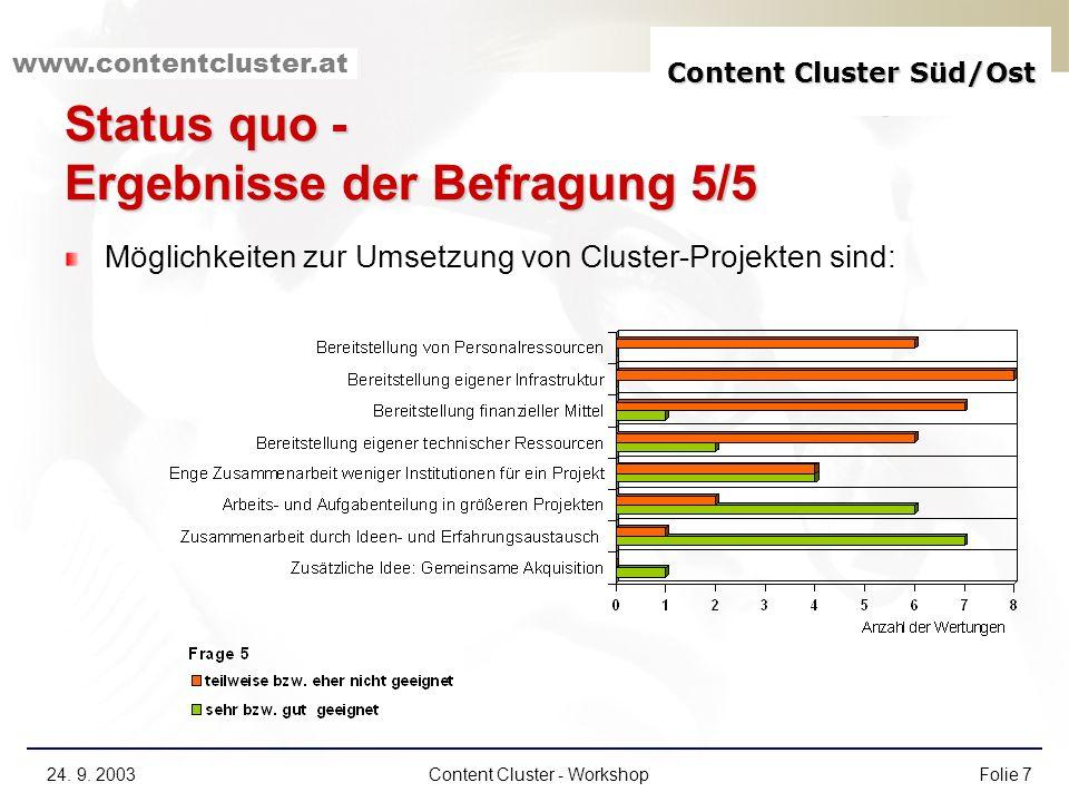 Content Cluster Süd/Ost www.contentcluster.at 24. 9. 2003Content Cluster - WorkshopFolie 7 Status quo - Ergebnisse der Befragung 5/5 Möglichkeiten zur
