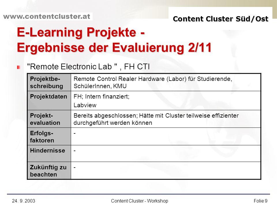 Content Cluster Süd/Ost www.contentcluster.at 24. 9. 2003Content Cluster - WorkshopFolie 9 E-Learning Projekte - Ergebnisse der Evaluierung 2/11