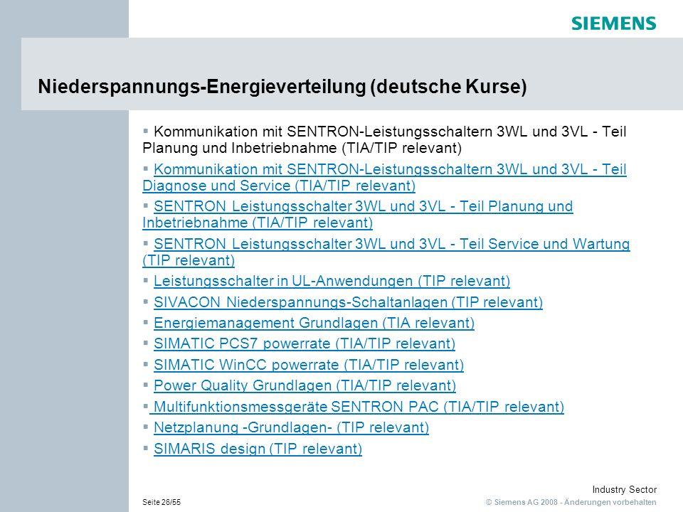 © Siemens AG 2008 - Änderungen vorbehalten Industry Sector Seite 26/55 Niederspannungs-Energieverteilung (deutsche Kurse) Kommunikation mit SENTRON-Le