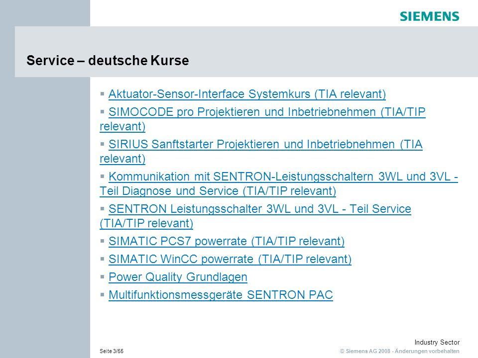 © Siemens AG 2008 - Änderungen vorbehalten Industry Sector Seite 14/55 Service SIMATIC WinCC powerrate deutsch: In diesem Kurs lernen Sie das Energiemanagement Add-On SIMATIC WinCC powerrate mit seinen Funktionen und Möglichkeiten kennen.