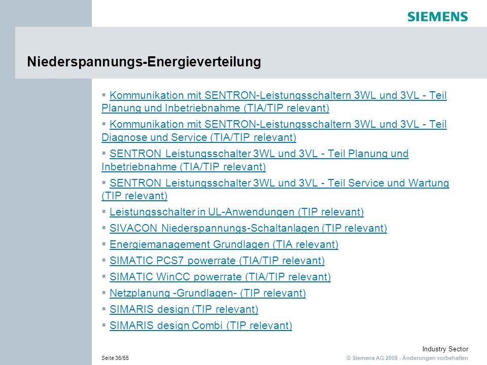 © Siemens AG 2008 - Änderungen vorbehalten Industry Sector Seite 36/55 Niederspannungs-Energieverteilung Kommunikation mit SENTRON-Leistungsschaltern