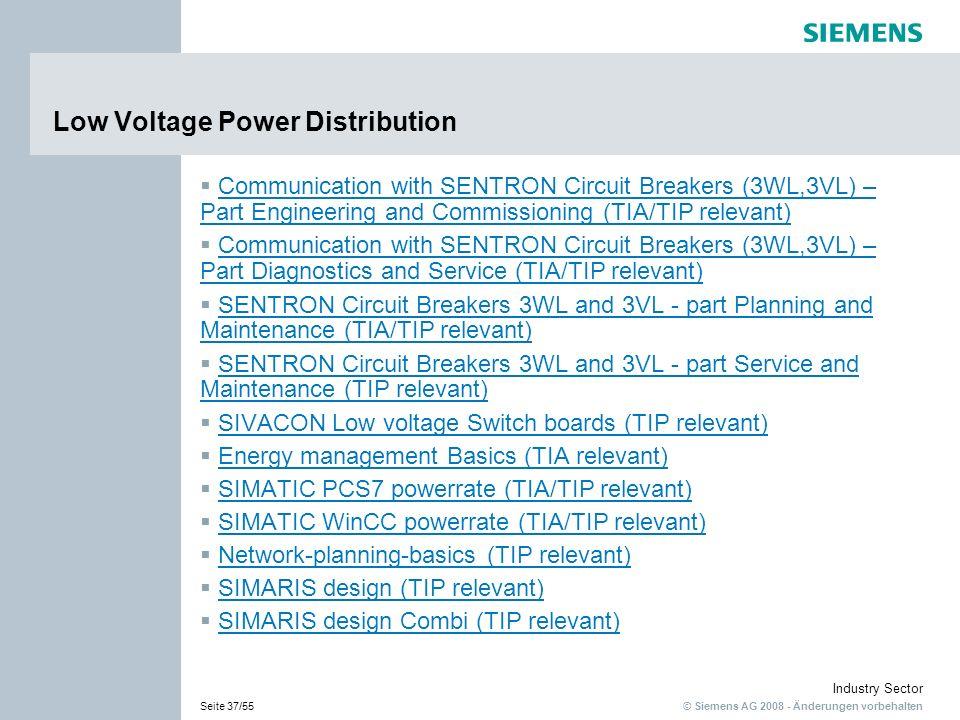 © Siemens AG 2008 - Änderungen vorbehalten Industry Sector Seite 37/55 Low Voltage Power Distribution Communication with SENTRON Circuit Breakers (3WL