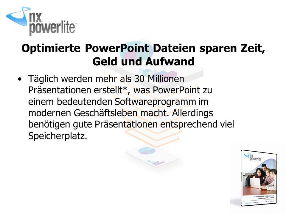 Optimierte PowerPoint Dateien sparen Zeit, Geld und Aufwand Täglich werden mehr als 30 Millionen Präsentationen erstellt*, was PowerPoint zu einem bed