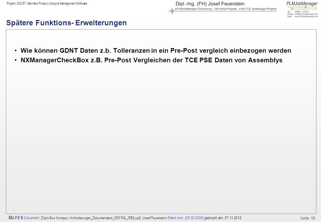 Seite: 13 J.FES Dokument : [ Ceck Box Konzept - Anforderungen_Dokumentation_D00164_JFES.ppt ] (Josef Feuerstein) Stand vom: [05.08.2008] gedruckt am: