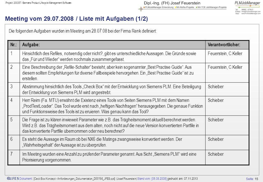 Seite: 15 J.FES Dokument : [ Ceck Box Konzept - Anforderungen_Dokumentation_D00164_JFES.ppt ] (Josef Feuerstein) Stand vom: [05.08.2008] gedruckt am: