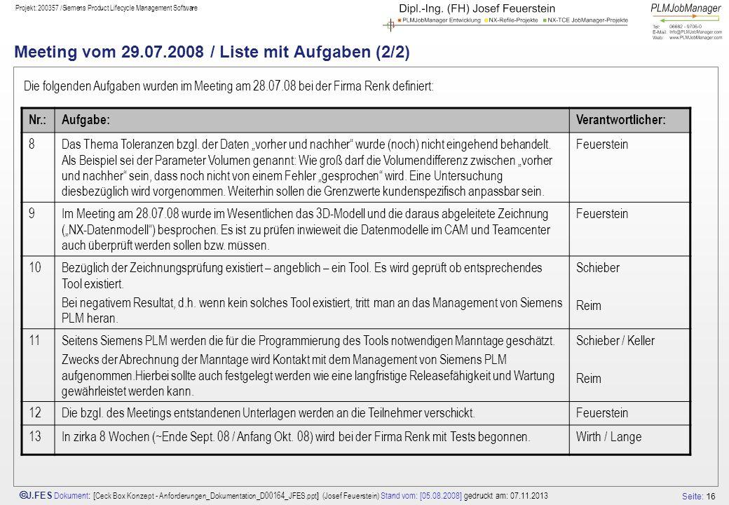 Seite: 16 J.FES Dokument : [ Ceck Box Konzept - Anforderungen_Dokumentation_D00164_JFES.ppt ] (Josef Feuerstein) Stand vom: [05.08.2008] gedruckt am: