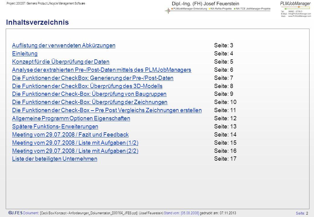 Seite: 2 J.FES Dokument : [ Ceck Box Konzept - Anforderungen_Dokumentation_D00164_JFES.ppt ] (Josef Feuerstein) Stand vom: [05.08.2008] gedruckt am: 0