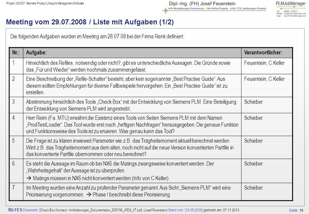 Seite: 16 J.FES Dokument : [ Check Box Konzept - Anforderungen_Dokumentation_D00164_JFES_V7.ppt ] (Josef Feuerstein) Stand vom: [18.05.2009] gedruckt