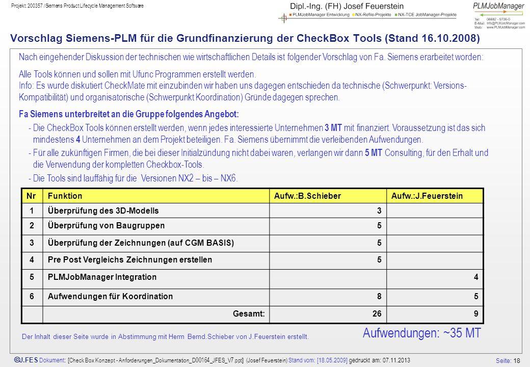Seite: 18 J.FES Dokument : [ Check Box Konzept - Anforderungen_Dokumentation_D00164_JFES_V7.ppt ] (Josef Feuerstein) Stand vom: [18.05.2009] gedruckt
