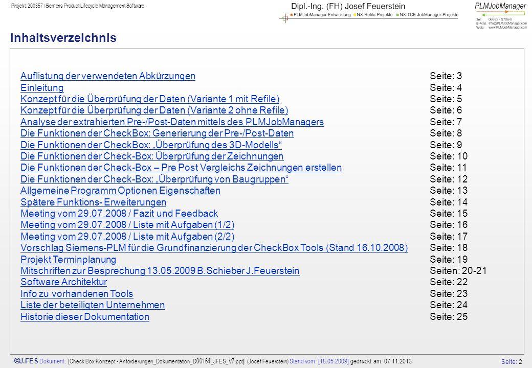 Seite: 2 J.FES Dokument : [ Check Box Konzept - Anforderungen_Dokumentation_D00164_JFES_V7.ppt ] (Josef Feuerstein) Stand vom: [18.05.2009] gedruckt a