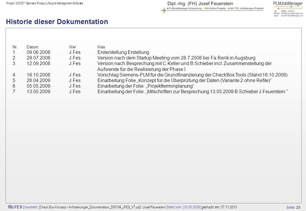 Seite: 25 J.FES Dokument : [ Check Box Konzept - Anforderungen_Dokumentation_D00164_JFES_V7.ppt ] (Josef Feuerstein) Stand vom: [18.05.2009] gedruckt