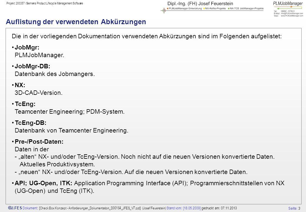 Seite: 3 J.FES Dokument : [ Check Box Konzept - Anforderungen_Dokumentation_D00164_JFES_V7.ppt ] (Josef Feuerstein) Stand vom: [18.05.2009] gedruckt a