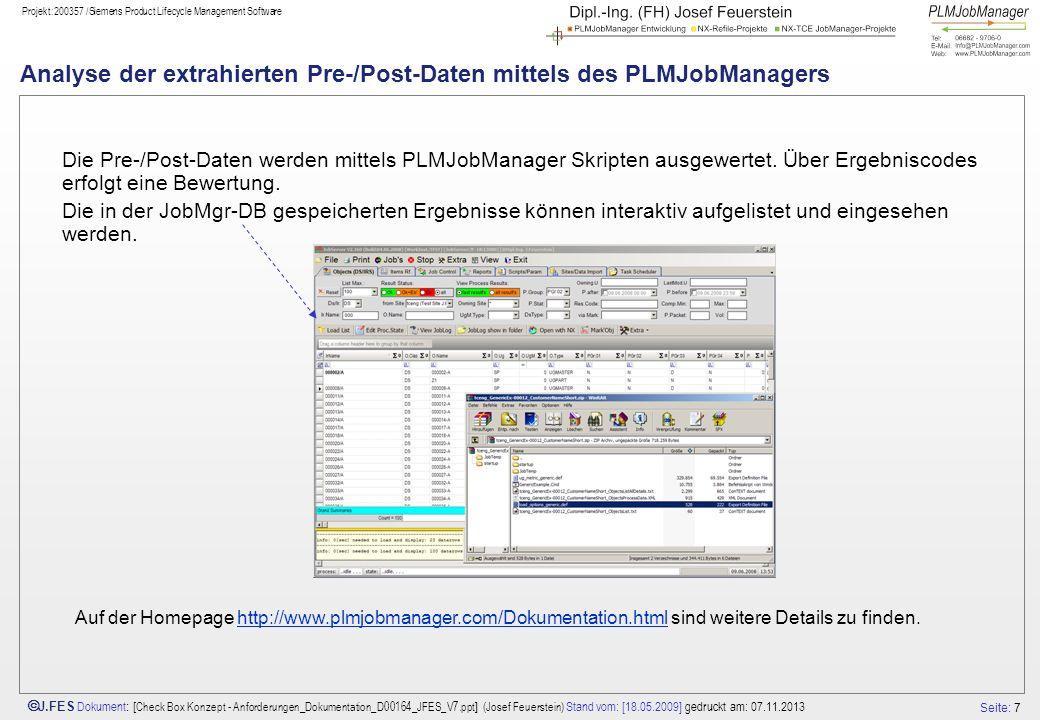 Seite: 7 J.FES Dokument : [ Check Box Konzept - Anforderungen_Dokumentation_D00164_JFES_V7.ppt ] (Josef Feuerstein) Stand vom: [18.05.2009] gedruckt a