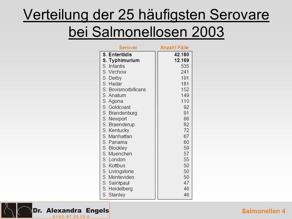 Verteilung der 25 häufigsten Serovare bei Salmonellosen 2003 S. Enteritidis S. Typhimurium S. Infantis S. Virchow S. Derby S. Hadar S. Bovismorbifican